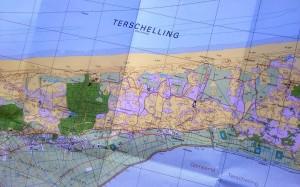 Kaart van Terschelling; de cijfers betreffen locaties van doelsoorten voor vandaag. Een goede voorbereiding is het halve werk